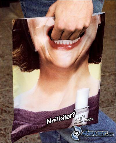 bolso divertido, publicidad, mujer, dientes, boca