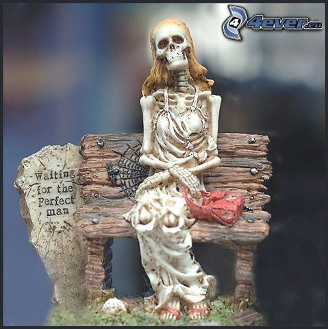 esqueleto, la espera, estatua