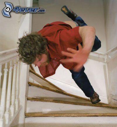 foto instatánea, caída, escalera