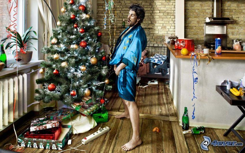 hombre, árbol de Navidad