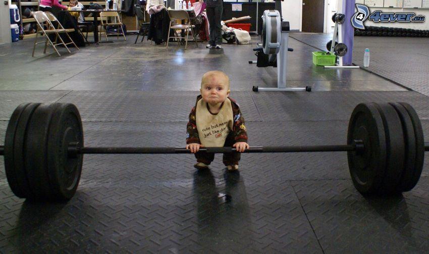 niño, musculación, gimnasio