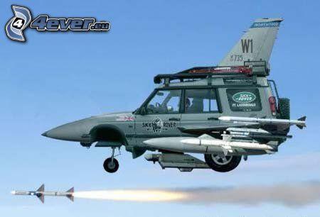 avion de caza, coche, cohete, tuning