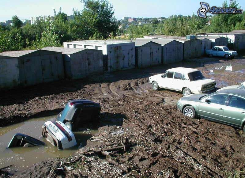 hoyo, barro, inundación, garaje, peligro