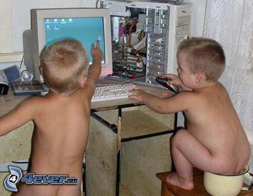 niños, ordenador