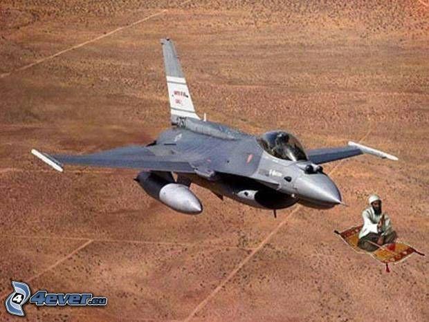 Osama bin Laden, F-16 Fighting Falcon, alfombra mágica