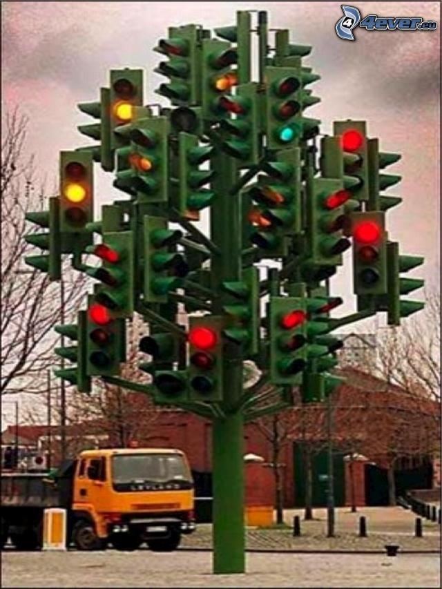 semáforo, árbol de Navidad