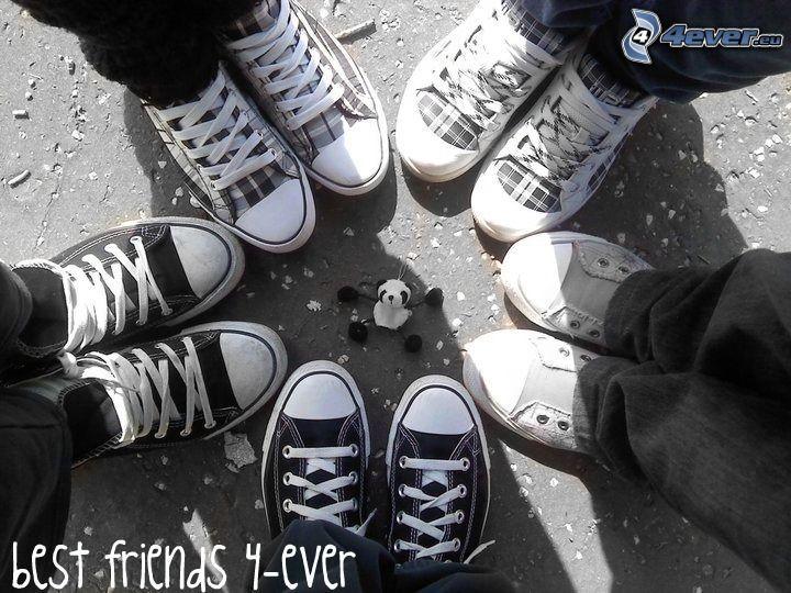 amistad, estilo, zapatos, pies, acera