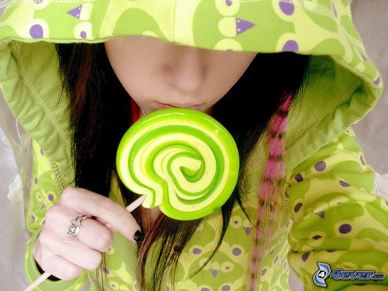 chica, chupachups, verde