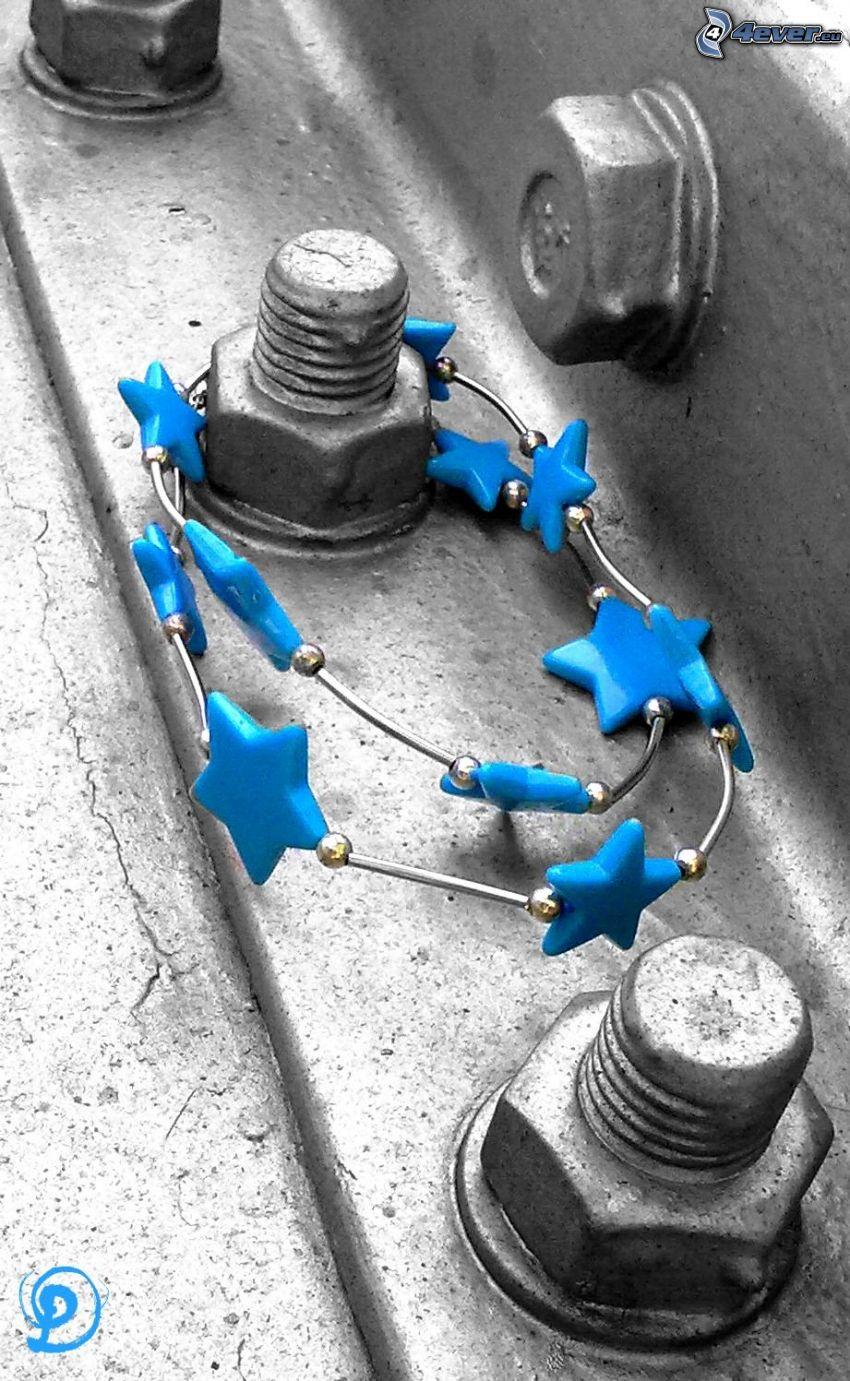 collar, estrellas, tornillos