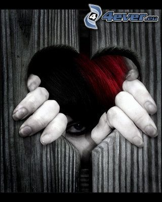 corazón, ojo, emo, gótica