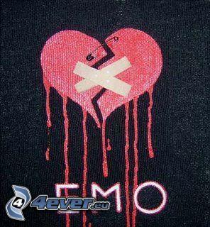 corazón roto, tirita, corazón emo