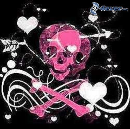 cráneo rosado, corazones