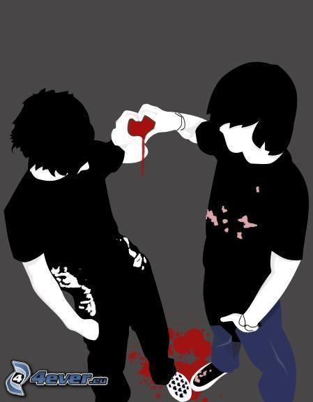 emo, niño, corazón, sangre