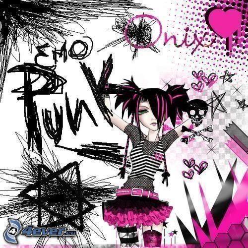 emo, punk, dibujos animados