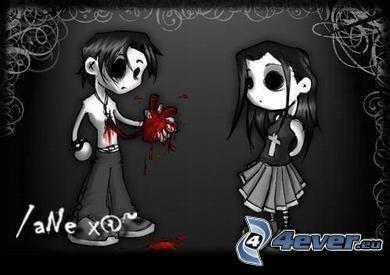 emo amor, dibujos animados, corazón