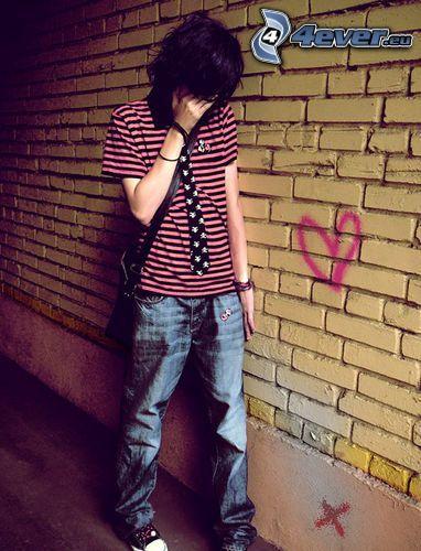 emo boy, flequillo, tristeza