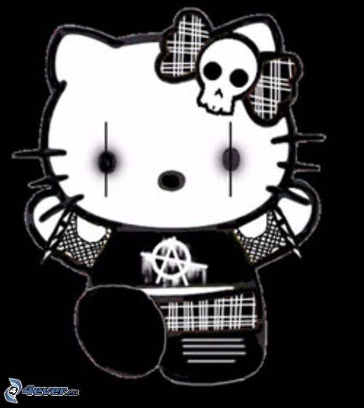 emo hello kitty, anarquía, cráneo