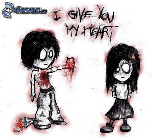 emo pareja, corazón emo