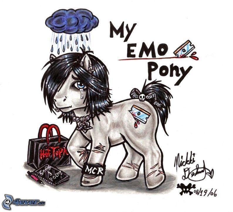 emo pony, caricatura de caballo