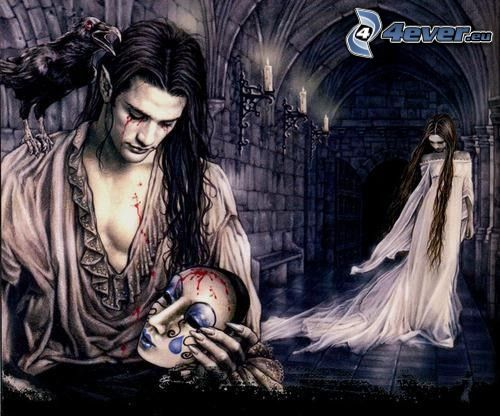 gótica, máscara, cuervo, tristeza