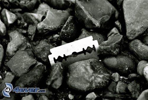maquinilla de afeitar, piedra, emo