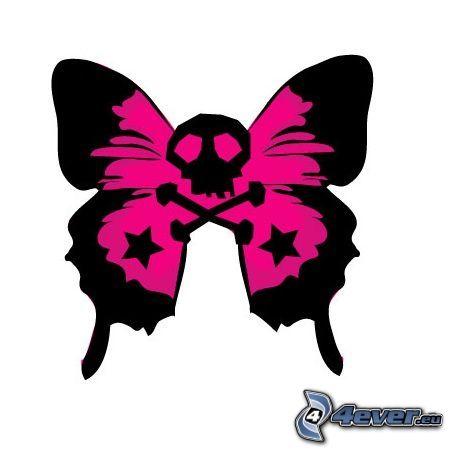 mariposa, cráneo, emo