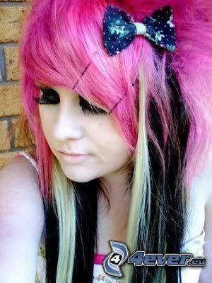 scene girl, chica, pelo de color rosa