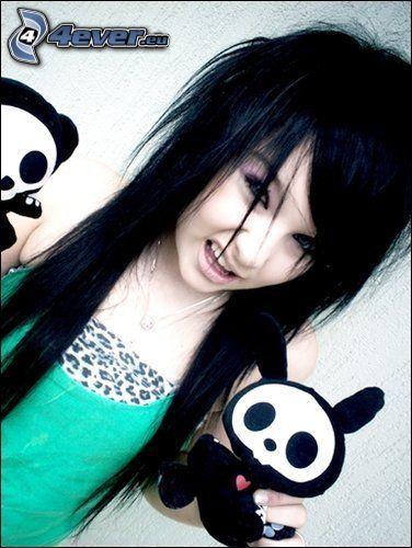 scene girl, estilo, emo, pelo negro