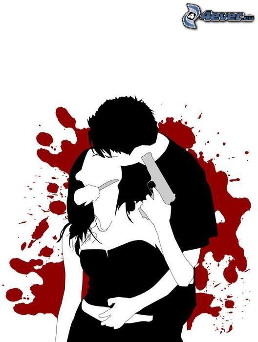 suicidio, dibujos animados de pareja, beso, sangre