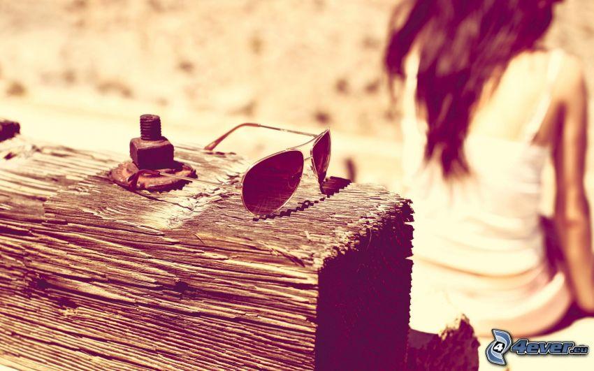 gafas de sol, madera, chica
