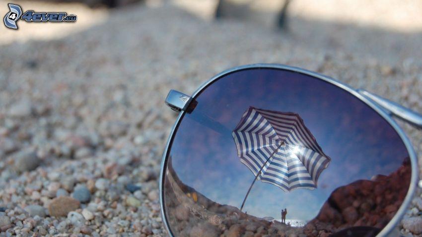 gafas de sol, sombrilla