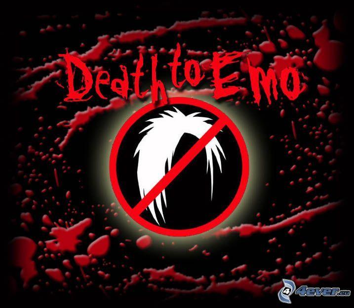 Death to emo, muerte, prohibición, sangre
