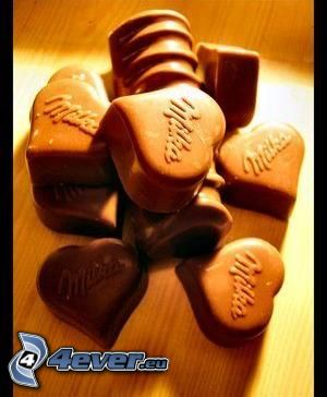Milka, corazones de chocolate