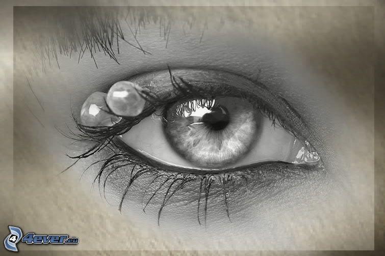 ojo, perlas, lágrima