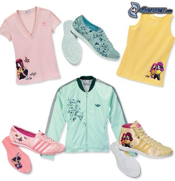 Adidas, zapato, zapatos, sudadera, suéter, camisetas