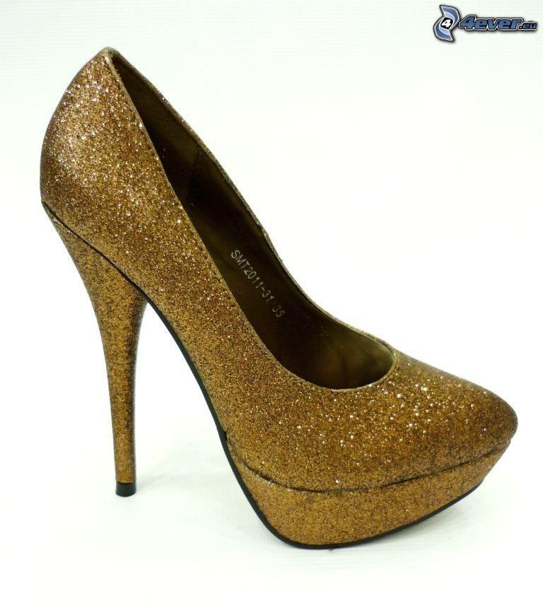 bombas brillantes, zapatos de gala en plataforma