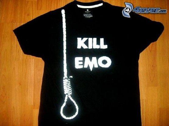 camiseta, kill emo, cuerda