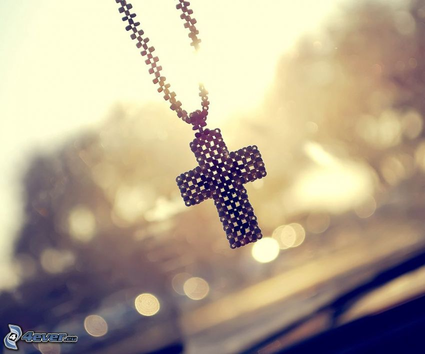 colgante, cadena, cruz, sol