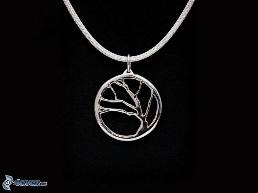 colgante de plata, árbol