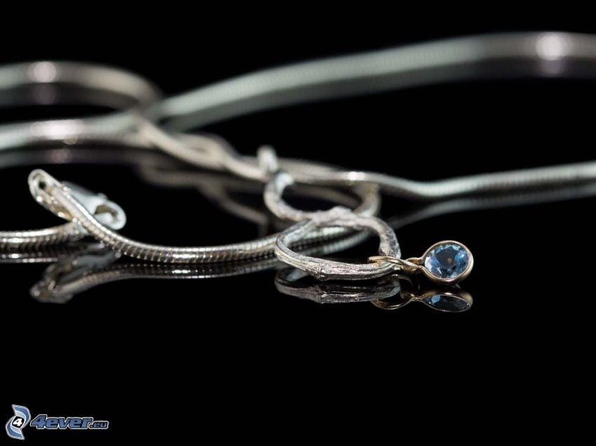 colgante de plata, cadena
