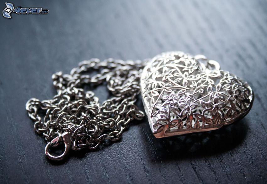 colgante de plata, corazón, cadena