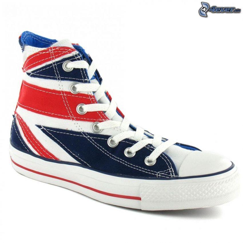 Converse, zapatilla de deporte, bandera inglesa