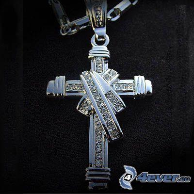 cruz, colgante de plata, diamante