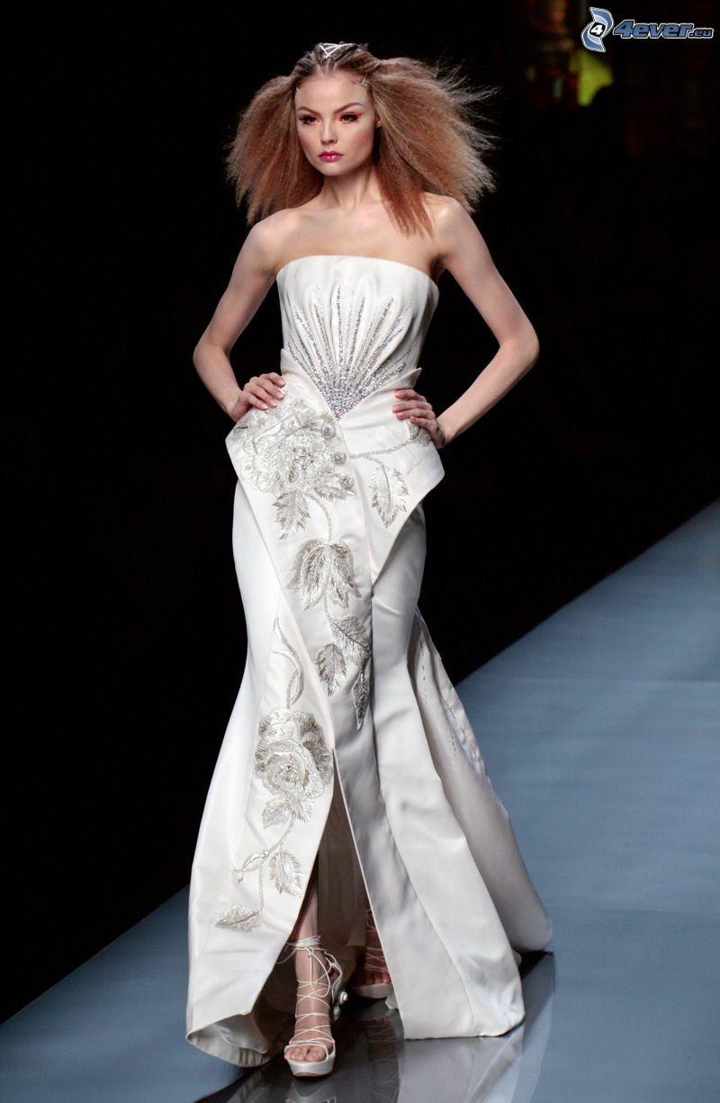Dior, vestido blanco, modelo, Demostración de moda