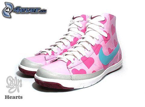 hearts, zapatillas de color rosa, corazones, Nike