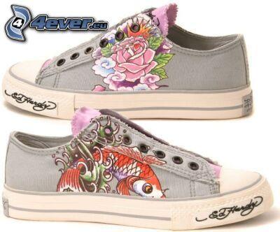 Heelys, dibujo, zapatillas de colores