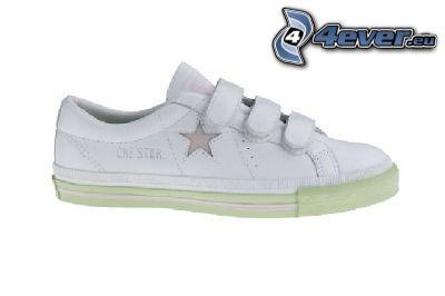 one star, zapatilla de deporte blanca, estrella