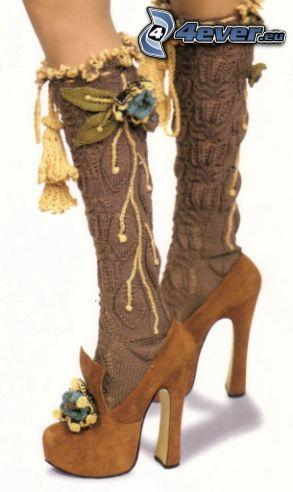 pie, tacón, calcetines hasta la rodilla, flor