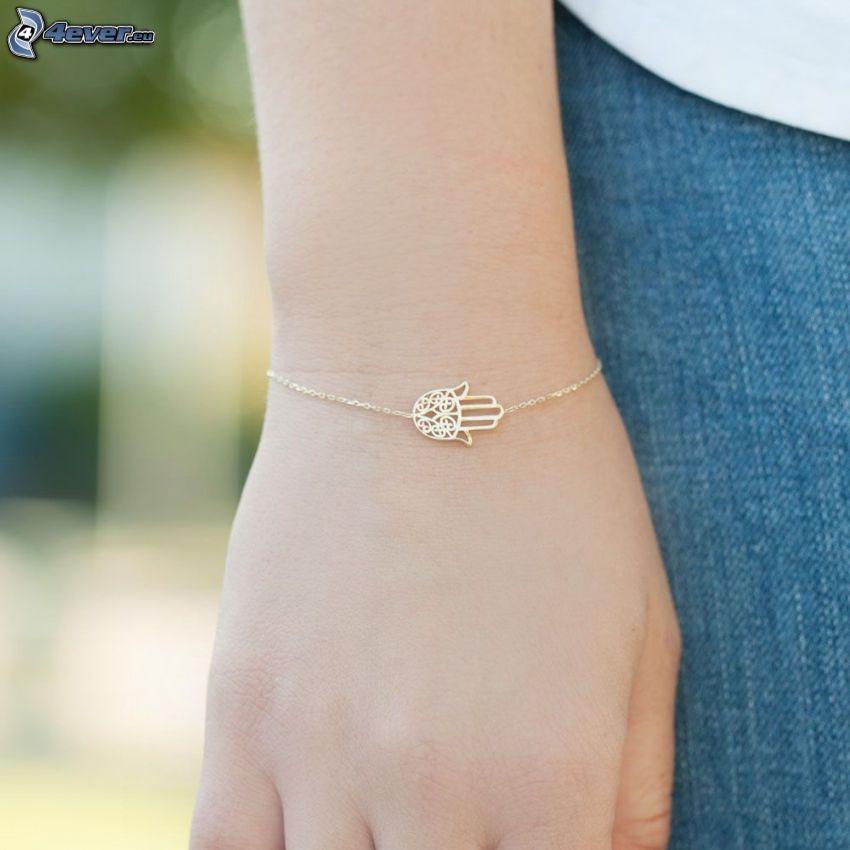 pulsera, cadena, mano