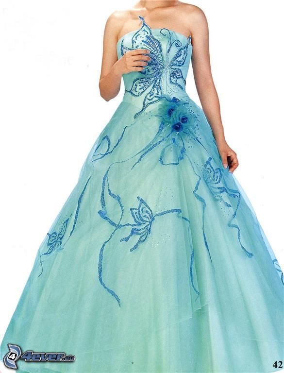 vestido azul, mariposa